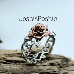 Silver rose gold flower belle ring size 7.5